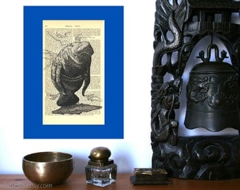 Manatee Art Print on Antique 1896 Dictionary Book Page