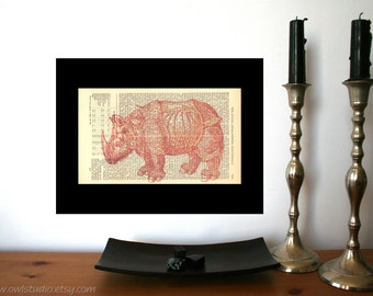 Albrecht Duerer Rhino Vintage Art Print on Antique 1896 Dictionary Book Page