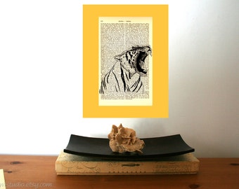 Tiger Art Print on Antique 1896 Dictionary Book Page