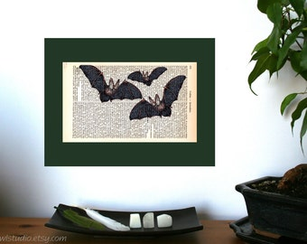 The Bats Are Coming Art Print on Antique 1896 Dictionary Book Page