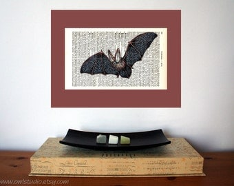 Flying Bat Art Print on Antique 1896 Dictionary Book Page