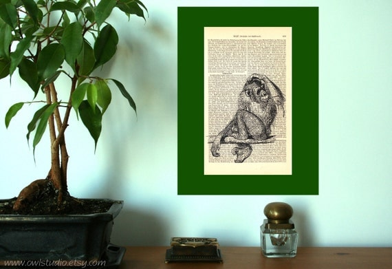 Monkey Where did I leave my banana Vintage Art Print on Antique 1896 Dictionary Book Page