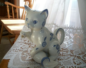 Vintage Kitty Cat Pitcher FRANLKIN MINT Country Friends by Hallie Greer 1986