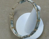 Green Tree Agate and 14k Goldfilled Wire 8 inch Bangle