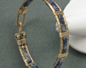 Denim Lapis and 14k Goldfilled Wire  Bangle 7 inch