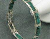 Kiwi Turquoise and Sterling Silver 7 inch Bangle