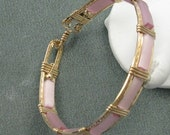 Pink Cats Eye and 14k Goldfilled Wire 7 inch Bangle