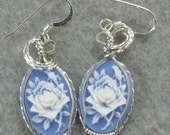 White Rose Cameo and Sterling Silver Earrings