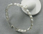 Fresh Water Pearl and Sterling Silver 8 inch Bangle