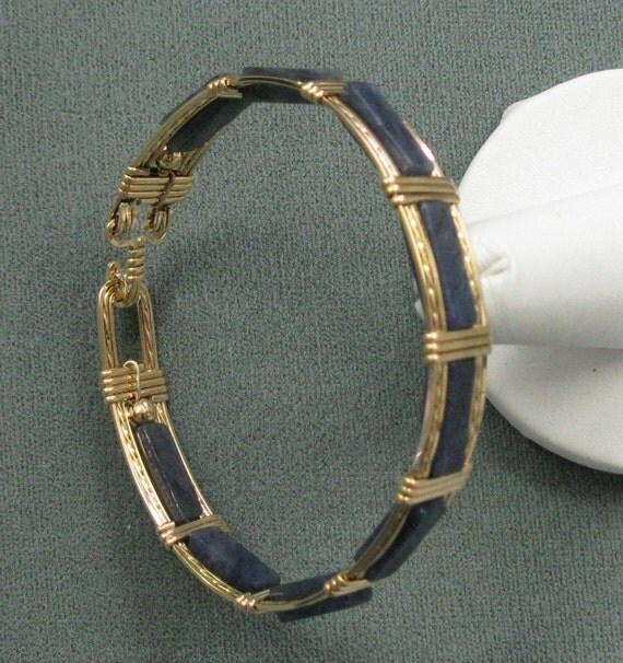 Blue Aventurine and 14k Goldfilled Wire 7 inch Bangle