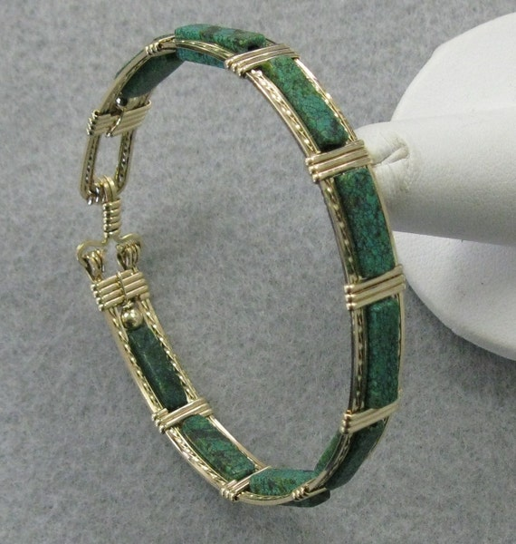 Emerald Kiwi and Goldfilled Wire Seven Inch Bangle
