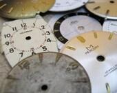 Destash Vintage Watch Dials - A Bakers Dozen of 13 Assorted Dials - Steampunk - Scrapbooking - Embellishments