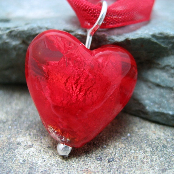 RESERVED - Vivid Red Glass Heart Pendant - Hand Made Silver Artisan Jewelry at Discount Prices