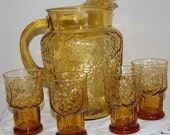 Vintage flower ripple pitcher and drinking glasses