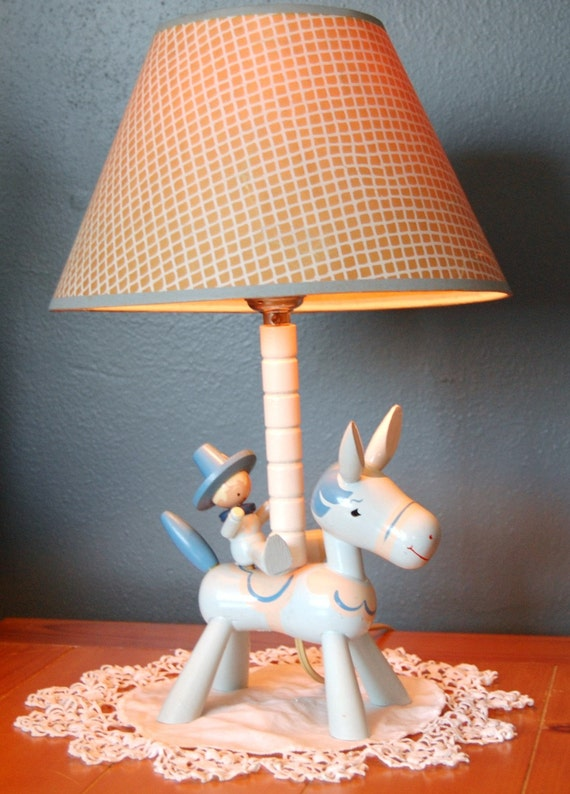 Vintage Wooden Baby Nursery Cowboy Lamp By Ifoundthis4u On