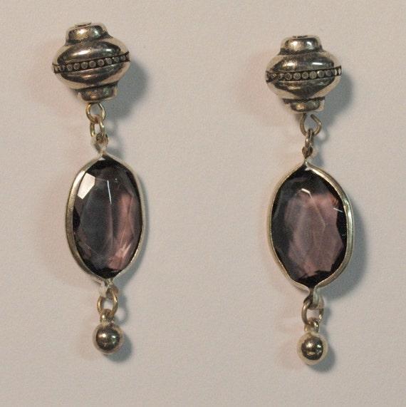 Vintage silver dangle purple gem earrings