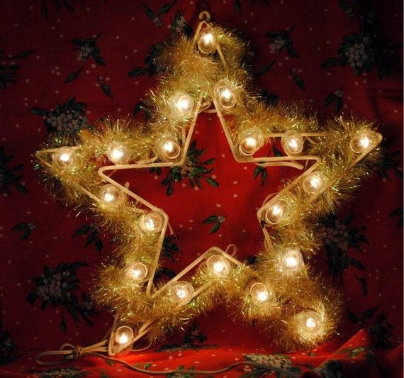 Vintage large lighted metal star christmas decoration for Large christmas light decorations