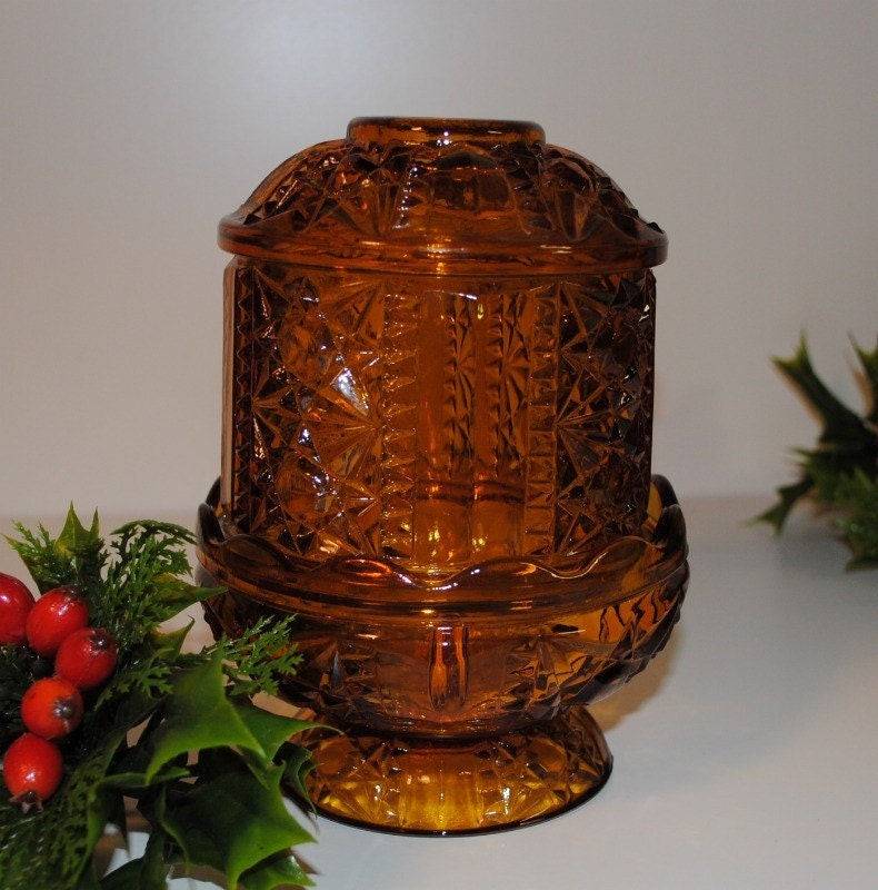vintage amber glass candle holder by ifoundthis4u on etsy