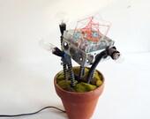 light sculpture - flower pot lamp - industrial lighting - blue, green, red, grey, silver, terra cotta, (OOAK, ready-to-ship)