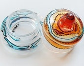 round glass jewelry box - orange, red - (OOAK, ready-to-ship)