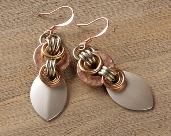 Athena earrings: hammered copper washers, brass, silver scales