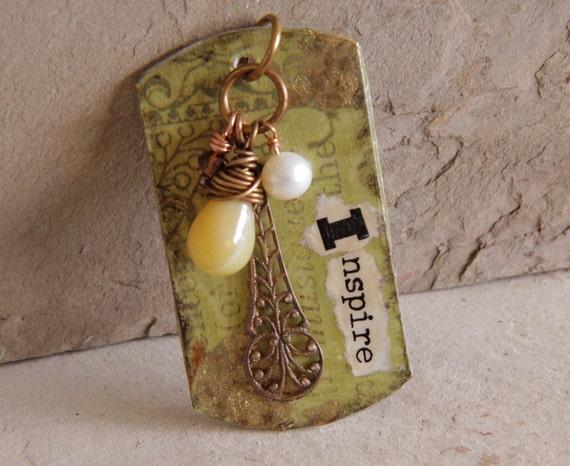 Inspire mixed media dog tag pendant with Vintaj brass filigree, yellow opal, pearl, crystal