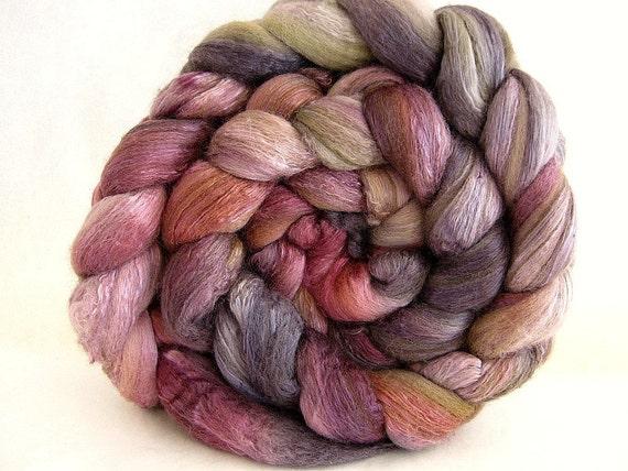 handpainted, hand dyed Merino,silk combed top...