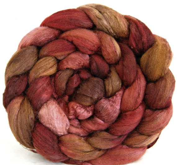 wool roving, merino silk 50 / 50, combed top: hand painted fiber, felting supplies