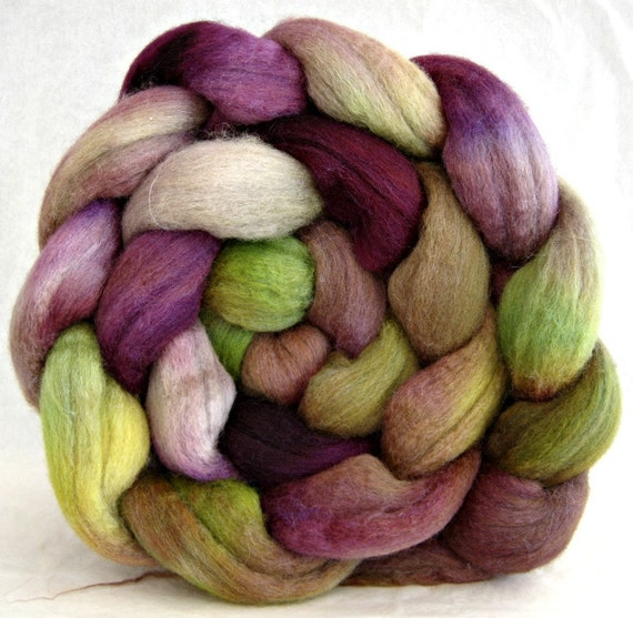 wool roving combed top, polworth silk, spinning supplies, hand painted roving