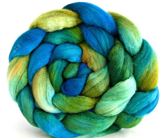 combed top, polworth silk wool roving, spinning supplies, hand painted, felting supplies