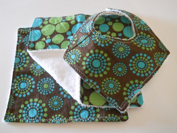 """Baby Shower Gift Set-  2 Coordinating Boutique Terry Cloth Wipes and 1 Bandana Drooler Bib -""""Polka Dots and Circles on Brown"""" LOW Shipping"""