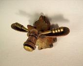 Robot Bull Moose Head Mounted on Maple Leaf Wood Figure Display on Magnets too