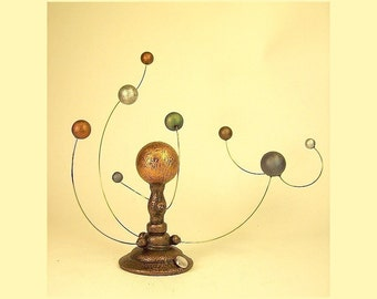Orrery Solar System Model Miniature Steampunk Orreries Outer Space Sculpture Alien Stars Planets Moons Science Mobile Victorian Wood Orrery