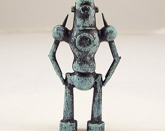 Ancient Cyclops Guardian Robot Wood Pendant Ornament Science Fiction Dangle