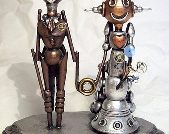 Western Wedding Cake Topper Old Time Bride and Groom Wood Robots Gown with Bustle and Ring