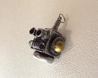 Robot Block Head Pendant Necklace Wood Ornament Science Fiction Dangle