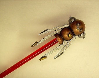 Robot Rocket Boy Cane with Wood Top Sculpture and Clear Ruby Red Walking Stick