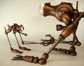 Steampunk Ocean Vehicle Copper Fish Walker Biped ExAqua Exploratory Machine Handmade Wood Sculpture Little Brother Smaller Version