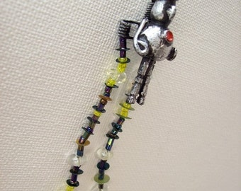 Bowler Hat Man with James Bond Like 007 Rocket Jet Pack and BEADED Exhaust Wood Pendant Ornament Science Fiction Dangle