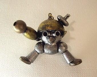 Mini Stumpy Robot Multi Metallic Colored DETAILED Wood Pendant Ornament Science Fiction Dangle