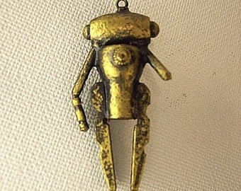 Gold Lady Robot in Dress Wood Pendant Ornament Science Fiction Dangle