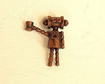 Robot Necklace Pendant Bee Boppin Bettie Copper Retro Wood Dangle Raising Her Glass