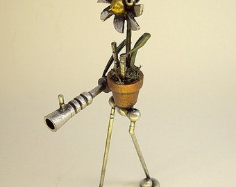 Flower Walker Daisy on a Rampage with Seed Shooter Ray Gun Humorous Wood Statue