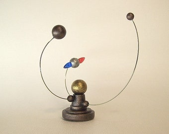 Miniature Alien Sun and Planet Orrery System in Wood with MAGNET