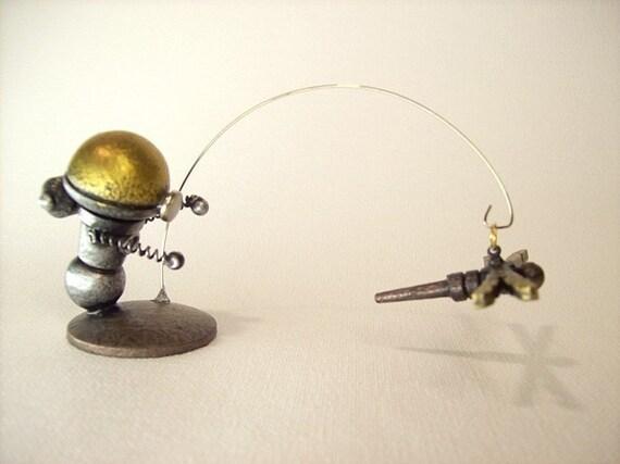 Little Boy Bobby Bot Robot Chasing FLYING Dragonfly Scene Wood with Base
