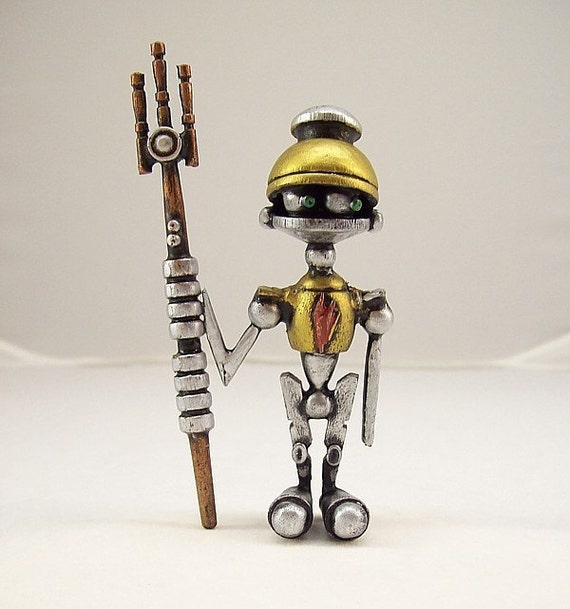 The Littlest Centurion Robot with Laser Trident Wood Figure Sculpture