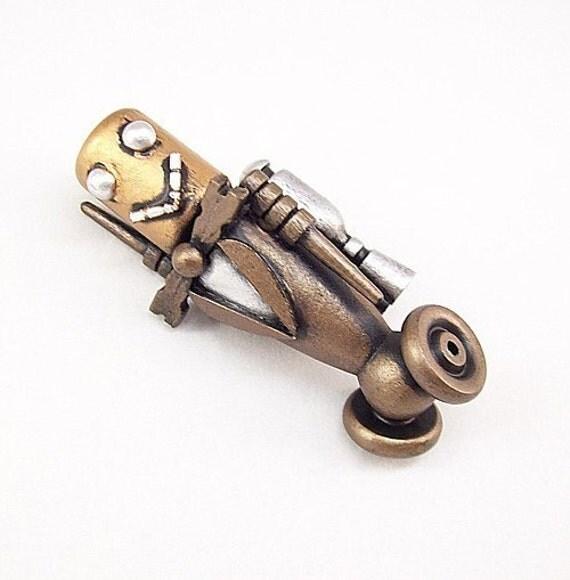 Gentleman Robot Rocketeer BIG Wood Pendant Science Fiction Dangle