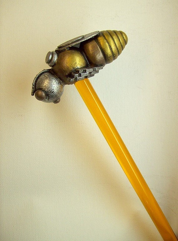 Robot Bee Cane with Wood Top Sculpture and Honey Clear Walking Stick