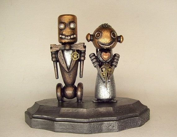 Robot Bride and Groom Wedding Cake Topper Wood Statues with