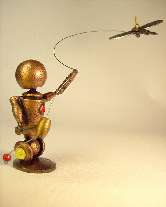 Retro Wood Robot Flying A Satellite Kite in the Air